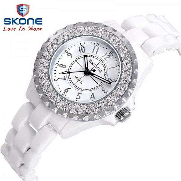 Часы женские Aliexpress SKONE brand luxury Fashion Casual quartz ceramic watches clock7242S