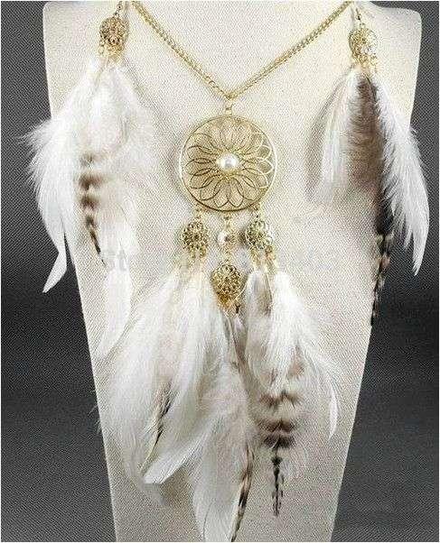 Ловец снов Aliexpress Best Deal Fashion Retro Women Bohemia Tassels Feather Pendant Necklace Jewelry Dream Catcher Pendant Chain Necklace Gift 1PC