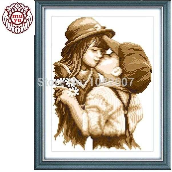Набор для вышивания крестом Needlework,DIY DMC Cross stitch,Sets For Embroidery kits,first romantic kiss pattern Counted Cross-Stitching