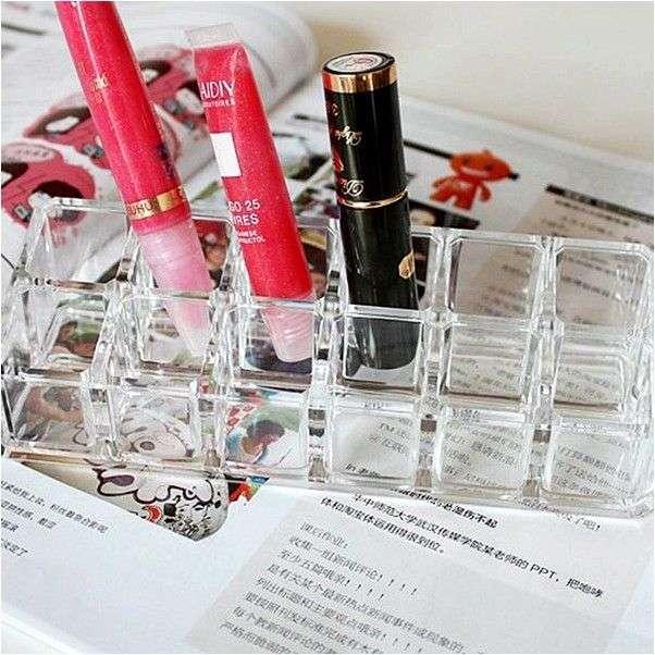 Органайзер Aliexpress Подставка для помад New Transparent 12 Grid Hole Lipstick Clear Acrylic Organizer Stand Holder Storage Rack Makeup Accessary
