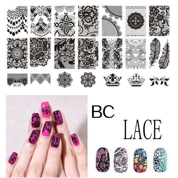 Пластина для стемпинга Aliexpress Fashion Lady Nail Art Product I want Laced All Series nail art Stamping Image Plate Print Template Cob web Flower Lace BC10