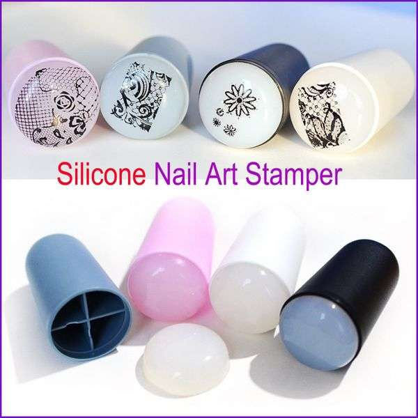 Штамп для стемпинга Aliexpress 2016 New Design Nail Art Stamp 4 Color Silicone Soft Nail Art Templates for DIY New Year Christmas Gift 1 Stamper + 1 Scraper