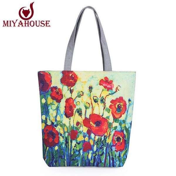 Сумка Женская Aliexpress Fashion Design Female Canvas Bag Single Shoulder Shopper Handbag Floral Printed Canvas Tote Women Casual Beach Bags Bolsas
