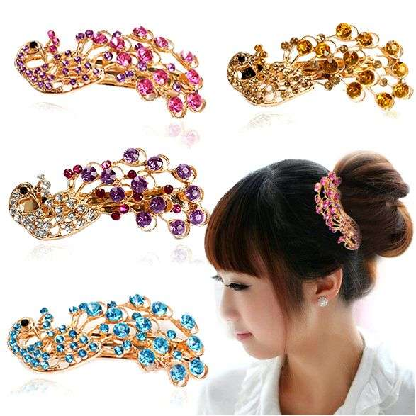 Заколка для волос Aliexpress Vintage Fashion Sweet Girl Multicolor Peacock Rhinestone Hair Barrettes