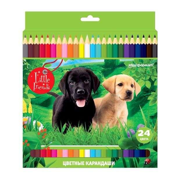 """Цветные карандаши """"Дикая планета"""" school формат 24 цвета"""
