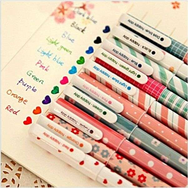 Гелевая ручка AliExpress Cute Design Ink 6 Colors Highlighter Pen Marker Stationery Point Pen Colorful Writing Supplie Girls Painting Pens