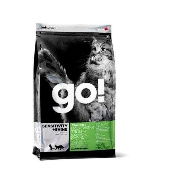 Go Natural Sensitivity + Shine Cat Беззерновой корм для Котят и Кошек с Чувствительным пищеварением: Форель, Лосось