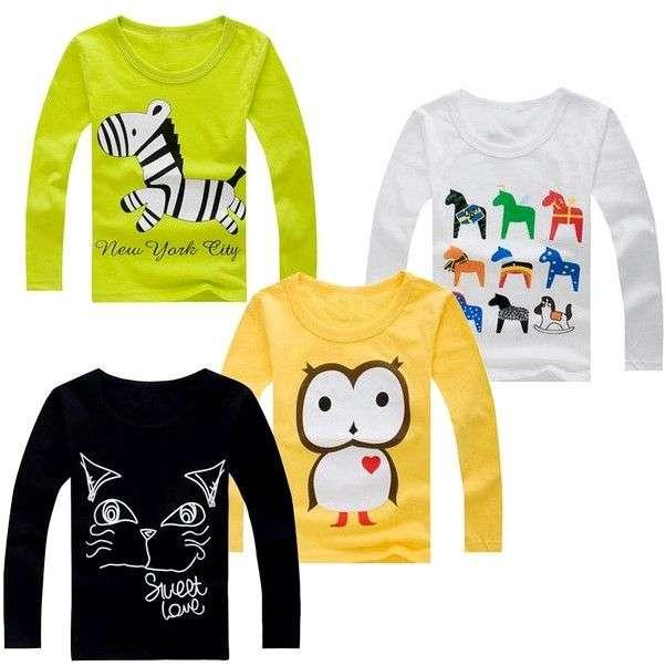 Кофта с длинным рукавом AliExpress Boys Clothes Kids T-shirt 2016 Brand Boys T shirt Long Sleeve Astronaut Print Baby Boys Tops Children T shirts Designer