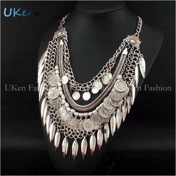 Колье Aliexpress Free Shipping Fashion Accessories Boho Design Vintage Gold / Silver Chain Chokers Coins Pendant Long Necklaces