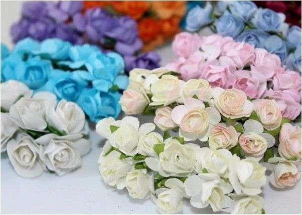 Материалы для творчества Aliexpress Sale!!! 1-1.5cm head Multicolor Mulberry Paper Flower Bouquet/wire stem/ Scrapbooking artificial rose flowers(144pcs/lot)