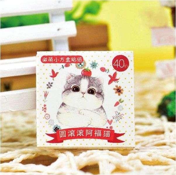 Наклейки Aliexpress 40 pcs/pack Cute Chunky Cat Diary Label Stickers Pack Decorative Mobile Scrapbooking DIY H0065