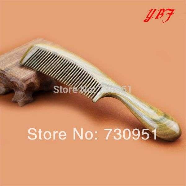 Расческа YBF Aliexpress Detangling Makeup Hair Hairdressing Tools Ox Horn Green sandalwood Wooden Handle Combs Head Scalp Massager Hairbrushes brosse