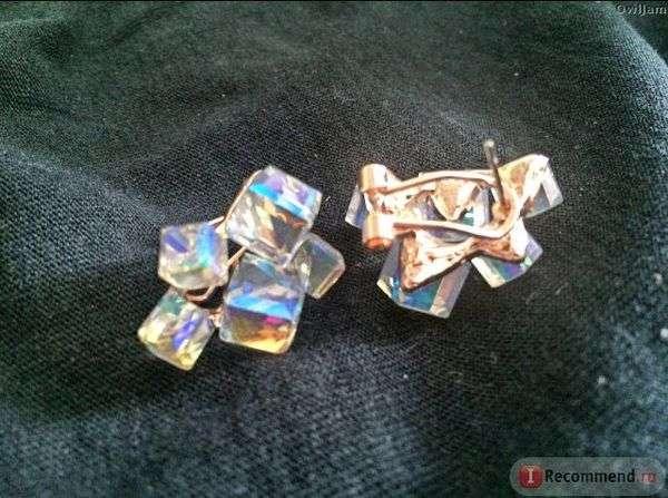 Серьги Aliexpress 2016 Fashion Geometric Cubic Zircon Crystal Earrings Red Stone Ruby Jewelry Earrings With Rubies Stone Earings For Women GR124