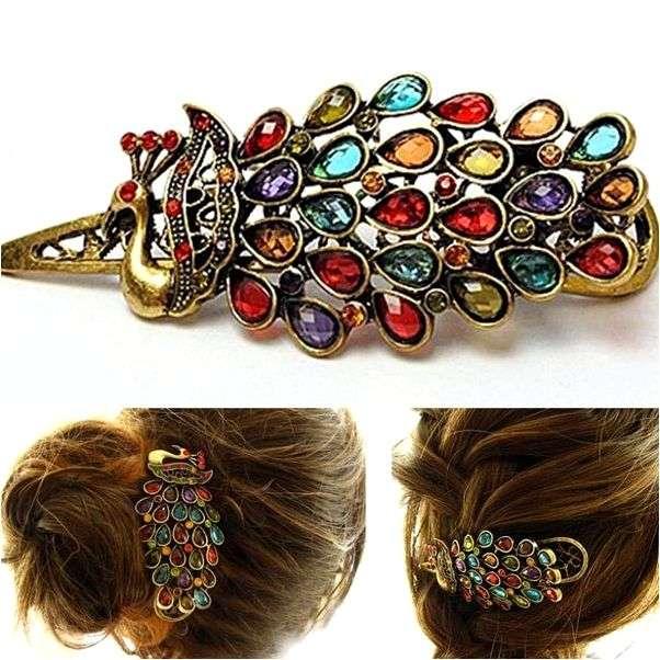 Заколка для волос Aliexpress Vintage Fashion Sweet Girl Multicolor Peacock Rhinestone Hair Barrettes